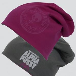 Wende-Beanie ALPHAPUSSY, pink/grau