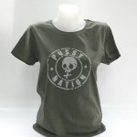 Pussynation Girl-Shirt in Oliv, hellgrauer Stempel